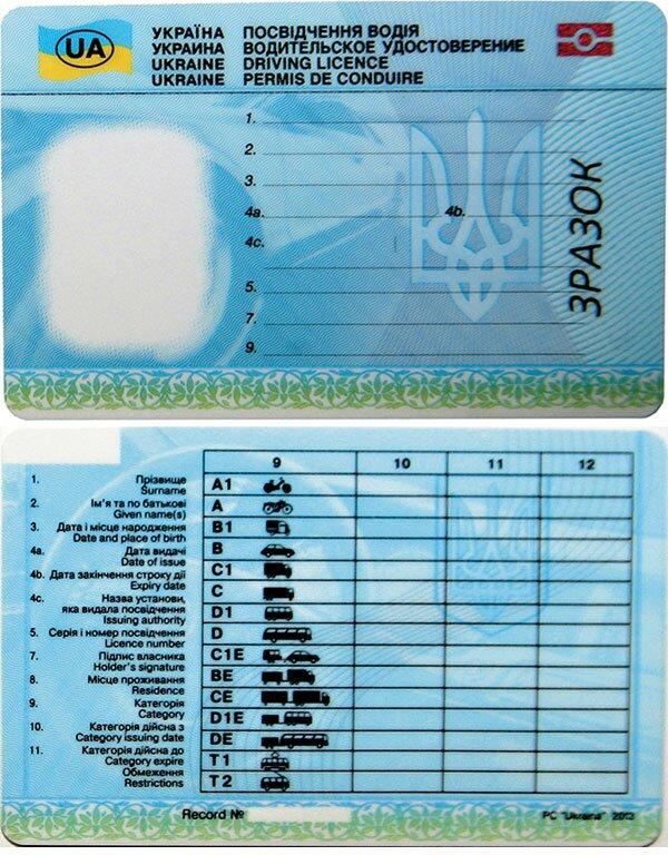 новый образец водительского удостоверения в Украине